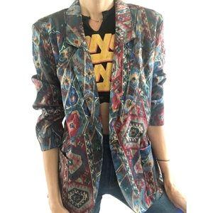 Vintage Aztec print blazer